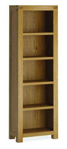 Sutton Rustic Waxed Oak Tall Narrow Bookcase