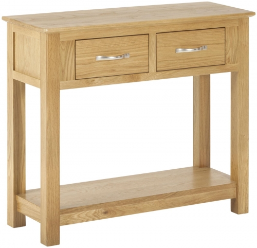 Bergen Light Oak 2 Drawer Console Table