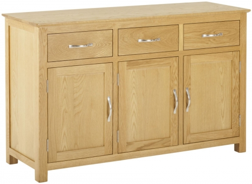 Bergen Light Oak 3 Door 3 Drawer Sideboard