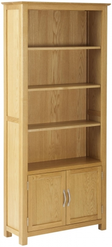 Bergen Light Oak Bookcase with Cupboard