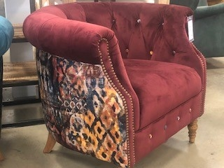 Norton Chair - Plush Burgundy Pattern Back