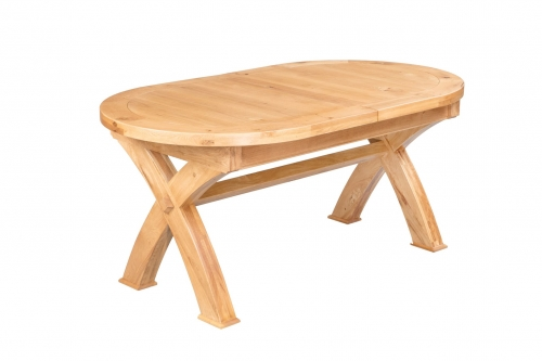Hebden Solid Oak Oval Extending X Leg Dining table