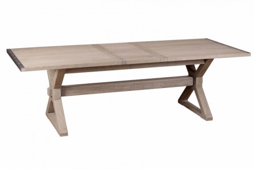 Ilkley Industrial Oak Extending Dining Table - Grey Paint X Under Frame