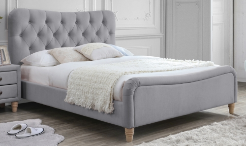 Liberty 4ft6 Upholstered Bed - Linen Grey