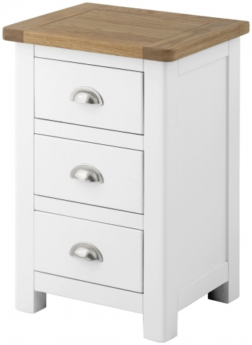 Brompton White 3 Drawer Bedside