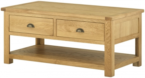 Brompton Oak Coffee Table With Drawers