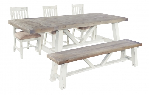 Whitley Distressed Timber Extending Dining Table