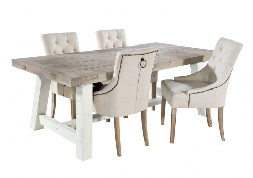 Armsgill Distressed Timber 180cm Large Extending Dining Table