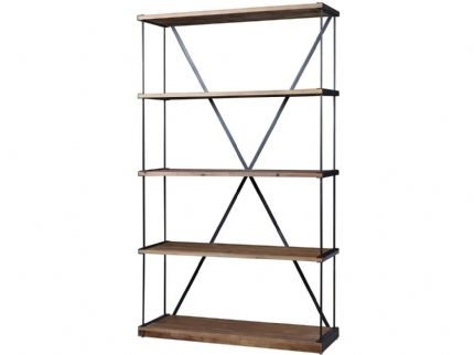 Refinery Large Iron and Elm Bookcase