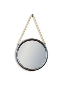 Small Round Black Metal Mirror on Hanging Rope