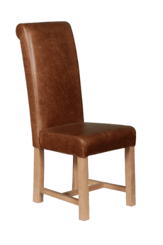Leather Rollback Dining Chair - Cerato Brown