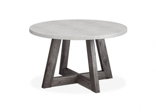 Boulder Contemporary Acacia with A Concrete Top Round Dining Table 130cm