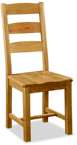 Country Rustic Waxed Oak Ladder Back Dining Chair with Wooden Seat