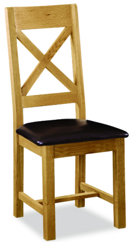 Country Rustic Waxed Oak X Back Dining Chair with Pu Seat