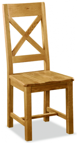 Country Rustic Waxed Oak X Back Dining Chair with Wooden Seat