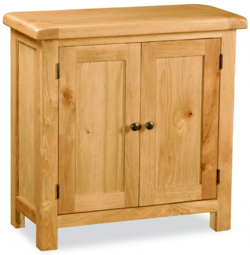 Country Rustic Waxed Oak 2 Door Cupboard