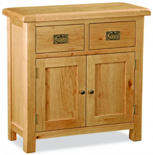 Country Rustic Waxed Oak Compact Sideboard