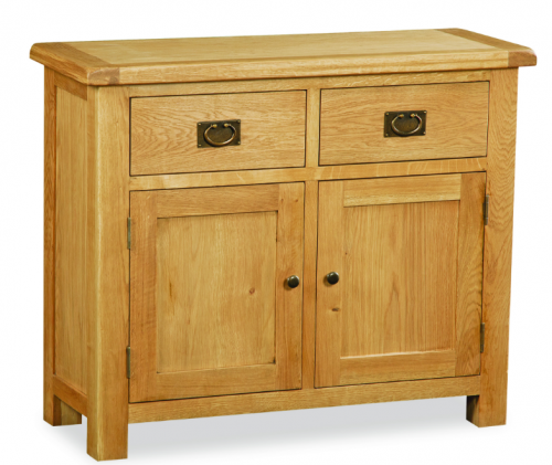 Country Rustic Waxed Oak Small  2 Door / 2 Drawer Sideboard