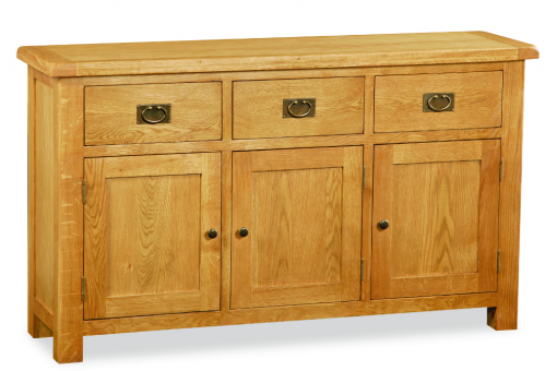 Country Rustic Waxed Oak Large Sideboard