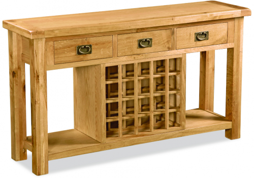 Country Rustic Waxed Oak 3 Drawer Console With Wine Rack
