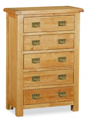 Country Rustic Waxed Oak 5 Drawer Chest