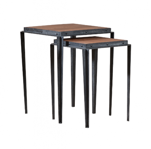 Crompton Steel & Oak Nest of Two Tables