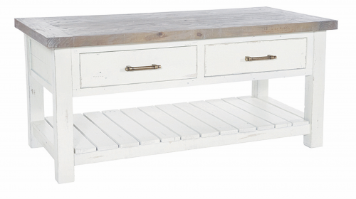 Armsgill Distressed Timber Coffee Table With Drawers