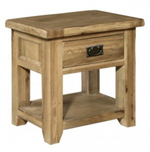 Riga Rustic Oak Bedside/Telephone Table