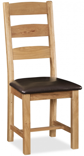 Country Rustic Waxed Oak Ladder Back Dining Chair with Pu Seat