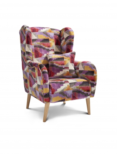 Ashford Accent Chair - Kaleido Calypso with Light Legs
