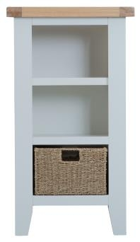 Thornton Painted Oak White Small Narrow Bookcase