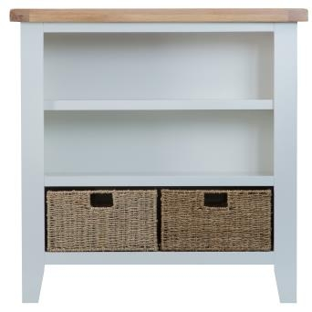 Thornton Painted Oak White Small Wide Bookcase