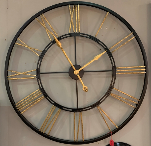 Large Black & Gold Skeleton Clock