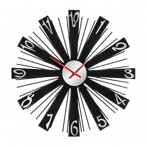 Black Mirrored Spoke Clock