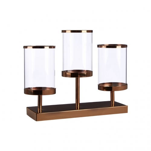 Complements Bronze Triple Hurricane Candle Holder
