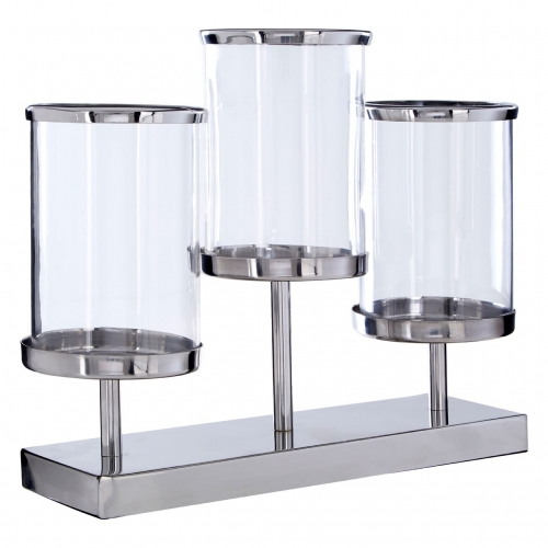 Townhouse Silver 3 Light Candle Holder without glass