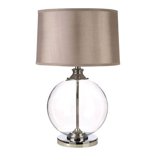 Edna Clear Glass Ball & Chrome Table Lamp