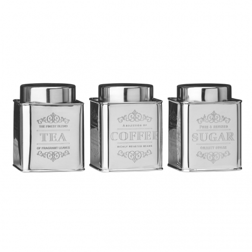 Chai Silver Tea, Coffee & Sugar Tins