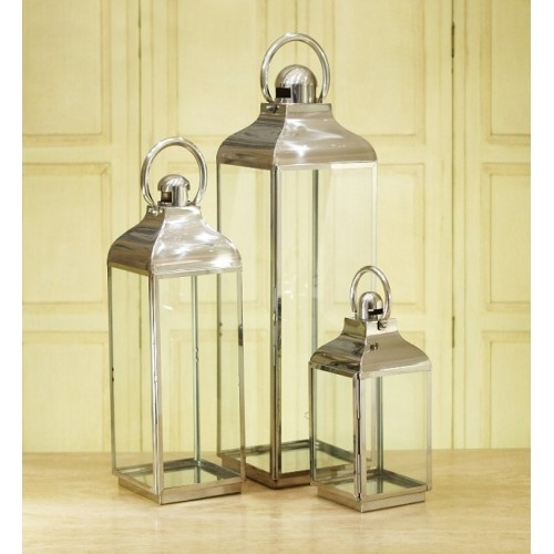 Stainless Steel Large Glass Lantern
