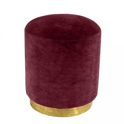 Small Velvet Stool with Brass Base - Claret