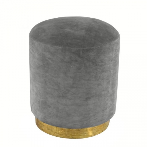 Small Velvet Stool with Brass Base - Dark Grey