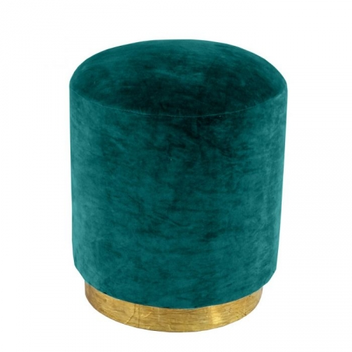 Small Velvet Stool with Brass Base - Jade Green