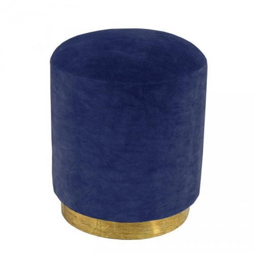 Small Velvet Stool with Brass Base - Marine Blue