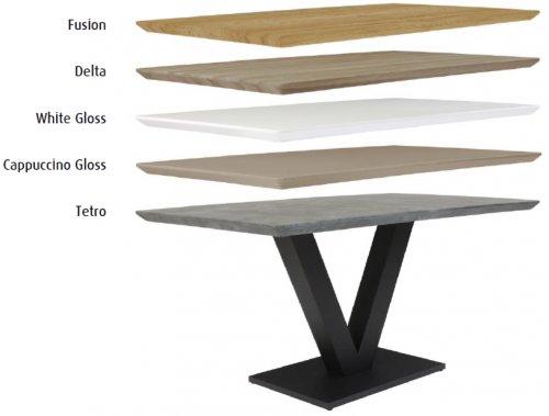 Telford Industrial Fixed Top Dining Table- Tetro finish