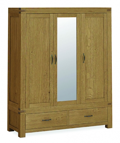 Sutton Rustic Waxed Oak Triple Wardrobe