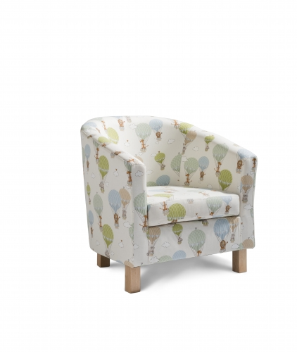 Tub Chair Accent Chair - Zoo Animals Multi with Light Legs