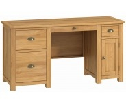 Brompton Oak Double Pedestal Desk
