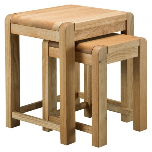 Kilburn Oiled Oak Nest Of Tables