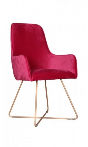 Utah Upholstered Bespoke Chair with Metal Legs - Cerise