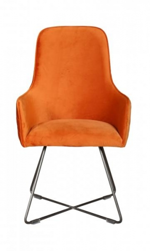 Utah Upholstered Bespoke Chair with Metal Legs - Marigold